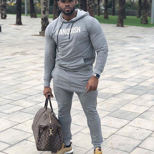 Muscle Brother Fitness MEN'S Sport Suit Autumn And Winter Hooded Pullover Hoody Casual Skinny Trousers
