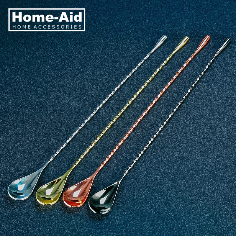 304 Stainless Steel Teardrop Frosted Bar Spoon Drink Mixing Spoons Bartender Tools Cocktail Stirrer
