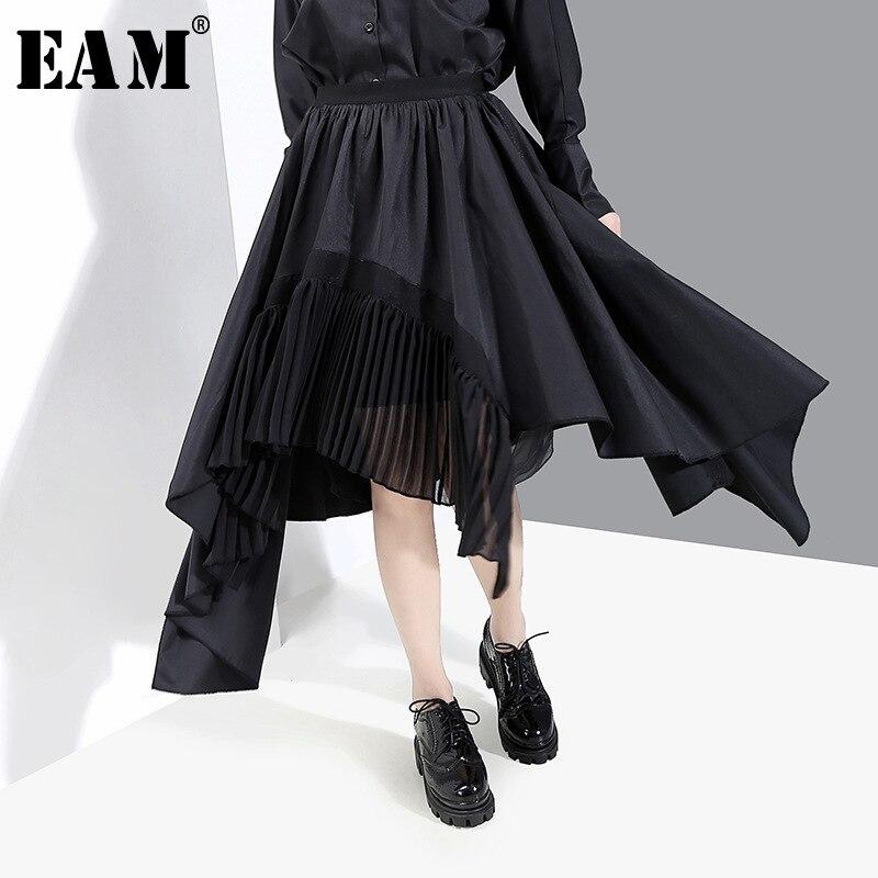 [EAM] High Elastic Waist Black Asymmetrical Pleated Split Temperament Half-body Skirt Women Fashion New Spring Autumn 2020 1N834