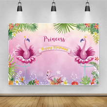 Roze Tropische Prinses Flamingo Verjaardagsfeestje Zomer Palms Tree Bloem Custom Poster Portret Foto Achtergrond Foto Achtergronden
