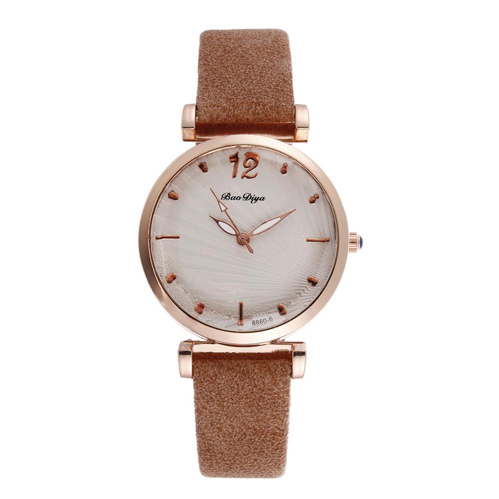 Модные повседневные женские часы коричневые кожаные 2020 простые кварцевые