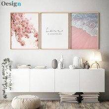 Estilo escandinavo cartaz mar praia decorativo imagem rosa flor arte da parede para sala de estar casa nordic decoração