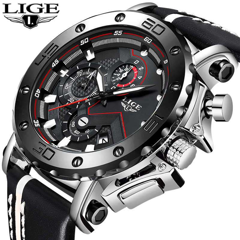 LIGE New Fashion Mens Watches Top Brand Luxury Big Dial Military Quartz Watch Leather Waterproof Sport Chronograph Watch Men+Box