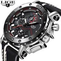 LIGE New Fashion Mens Watches Top Brand Luxury Big Dial Military Quartz Watch Leather Waterproof Sport Chronograph Watch Men+Box