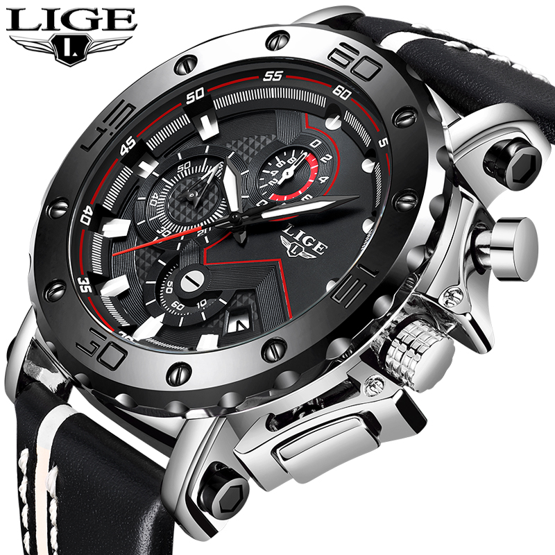 LIGE New Watches Mens Top Luxury Brand Military Sport Quartz Men Watch Leather Waterproof Luminous Large Dial Relogio Masculino