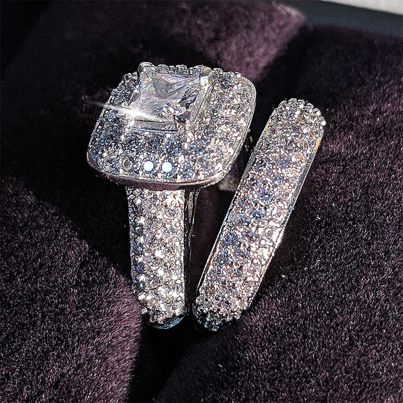 Moonso trendy Luxury 925 Sterling Silver Wedding Ring Set band for bridal girls and Women ladys love couple pair jewelry R3400 2
