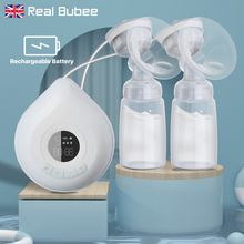 Real Bubee Rechargeable Double Electric Breast Pump BPA Free 3 Mode Intelligent BreastPump Automatic Massage with High Suction