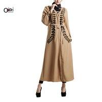 Osunlin Women Dress Muslim Cardigan Print Dresses With Belt Autumn Office Lady Casual Elegant V Neck Long Sleeve Maxi Dress