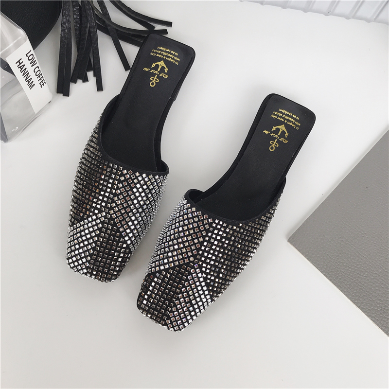 Womens Pointy Toe Rivet Rhinestone Slip On Mules Loafers Slippers Shoes Flats sz