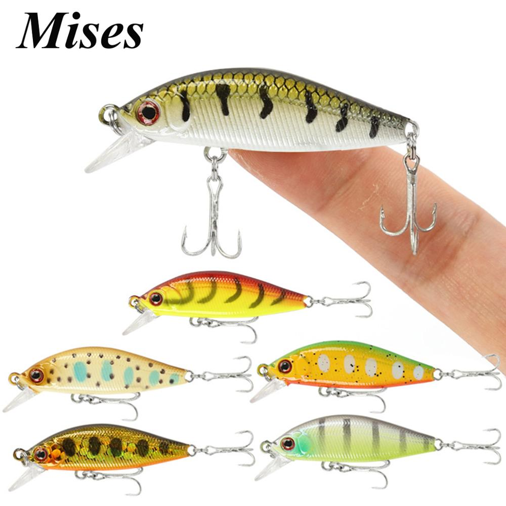 Mises 4.5cm 3.1g Ten Colors Long Shot Sinking Bionic Minnow Lure 3D Eyes Artificial Bait Hard Bait Fishing Lure Fishing Tackles