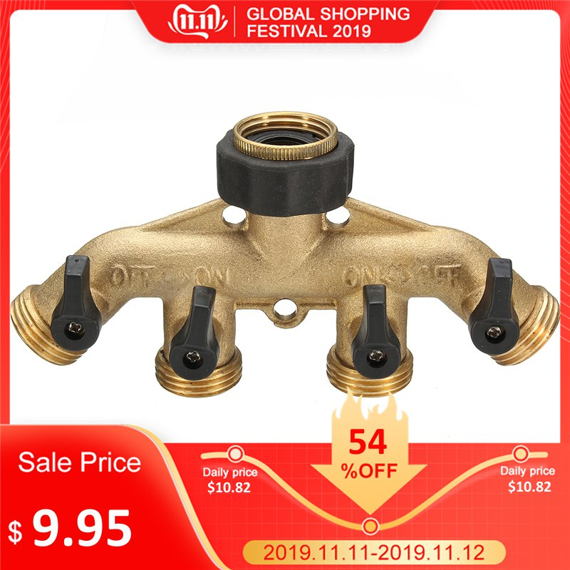 3/4 Inch BSP 4 Way Brass Hose Faucet Manifold Water Segregator Garden Tap Connector Splitter Switcher Control Shut Off Valve