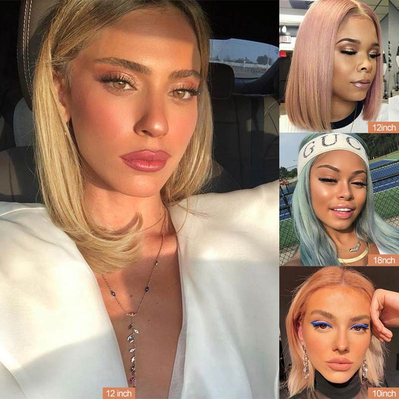 Rebecca Silky Straight Short Hair Lace Frontal Human Hair Wigs For Women Ombre Bule Blonde Pink Mid-Length 4*4 Lace Closure Wig
