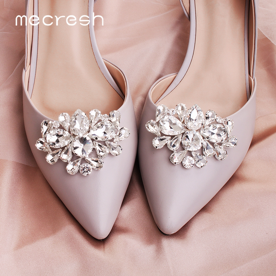 Mecresh Round Teardrop Shape Crystal Wedding Shoes Buckle Silver Color Flower Bridal High Heels Clips For Women 2pcs/lot MXK015