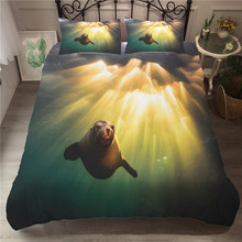Bed Cover 3D Bedding Set Sea Lion Printed Duvet Cover Polyester Material Couple Queen Size with Pillowcase