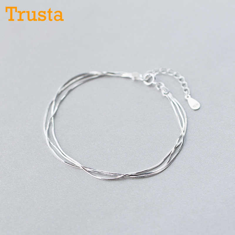 Trustdavis Genuine 925 Sterling Silver Simple MultiLayer Snake Chain Bracelets For Women Hand Accessories Jewelry Gift DS615