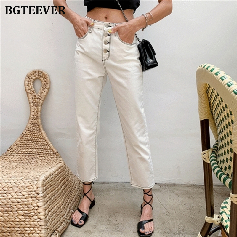 2019 White Single-breasted Denim Jeans Women Mid-waist Straight Jeans For Women Stretch Jeans Female Skinny Denim Pencil Pants