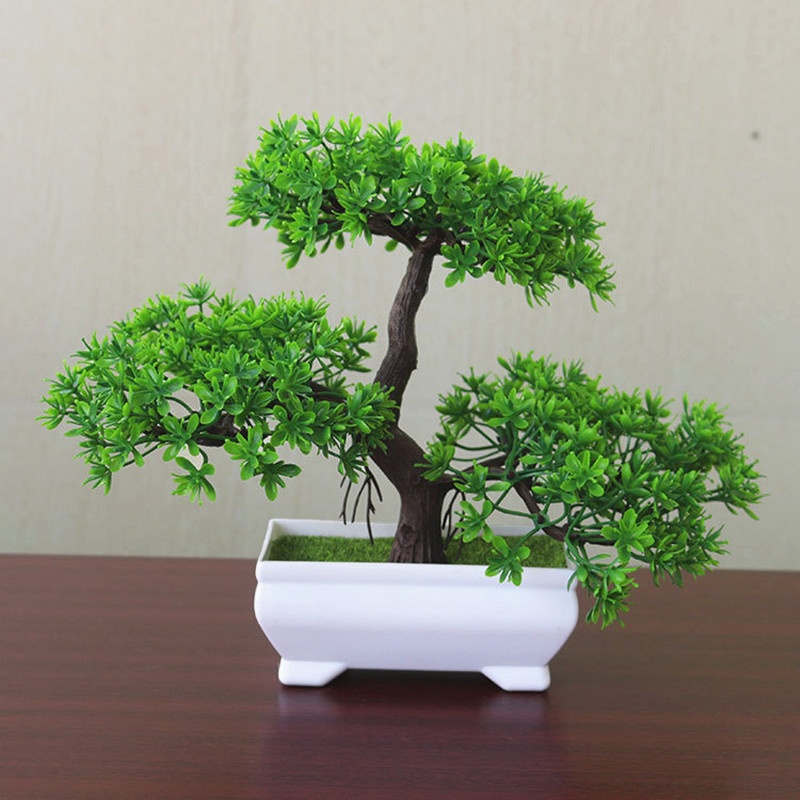 Artificial Flowers Fake Green Pot Welcoming Pine Bonsai Simulation Artificial Potted Plant
