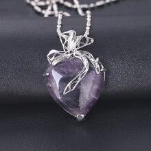 Pendentif cœur améthyste en cristal naturel, 1 pièce, Quartz cristal minéral, pierre, artisanat, décoration de Couple, bricolage, cadeau pour femmes
