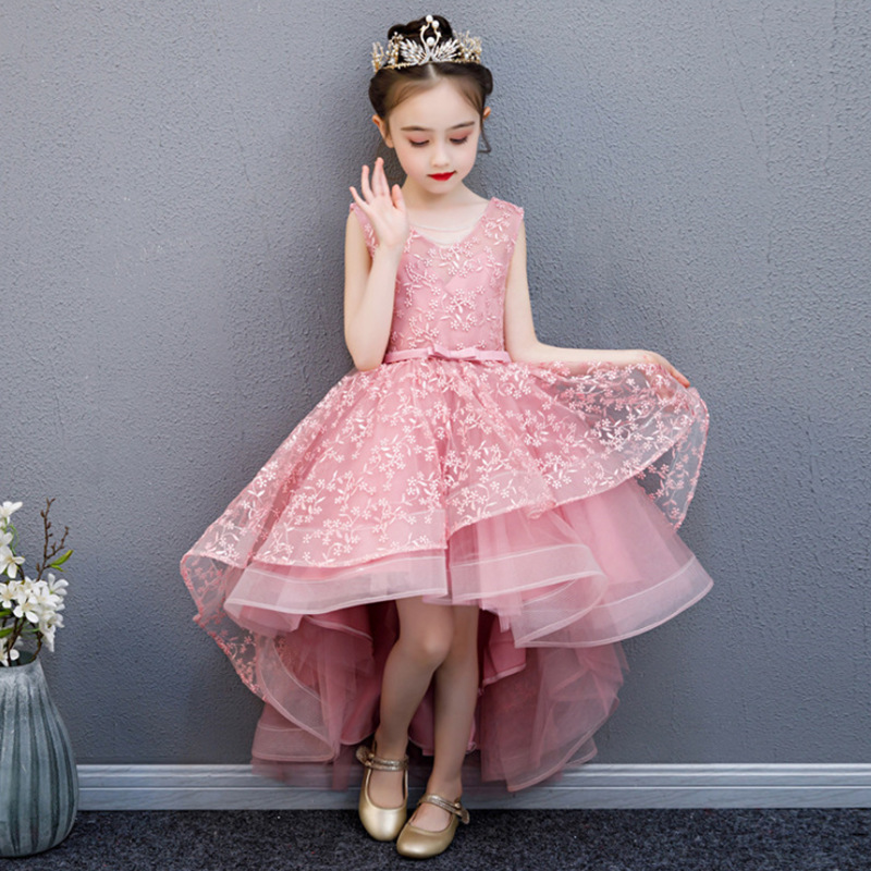 Girl Wedding Party Flower Girl Bridesmaid Embroidery Tail Dress Princess Birthday Host Walking Piano Performance Dress