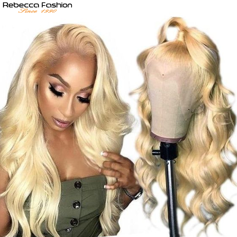 Rebecca 613 Blonde Body Wave Wig Transparent Lace Front Body Wave Human Hair Wig Brazilian Remy L Part Lace Front Wigs For Women