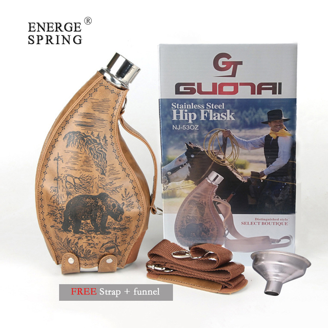 ENERGE SRPING 53oz stainless steel Horns hip flask for menfolk wine pot with leather case portable outdoor flagon with funne 1