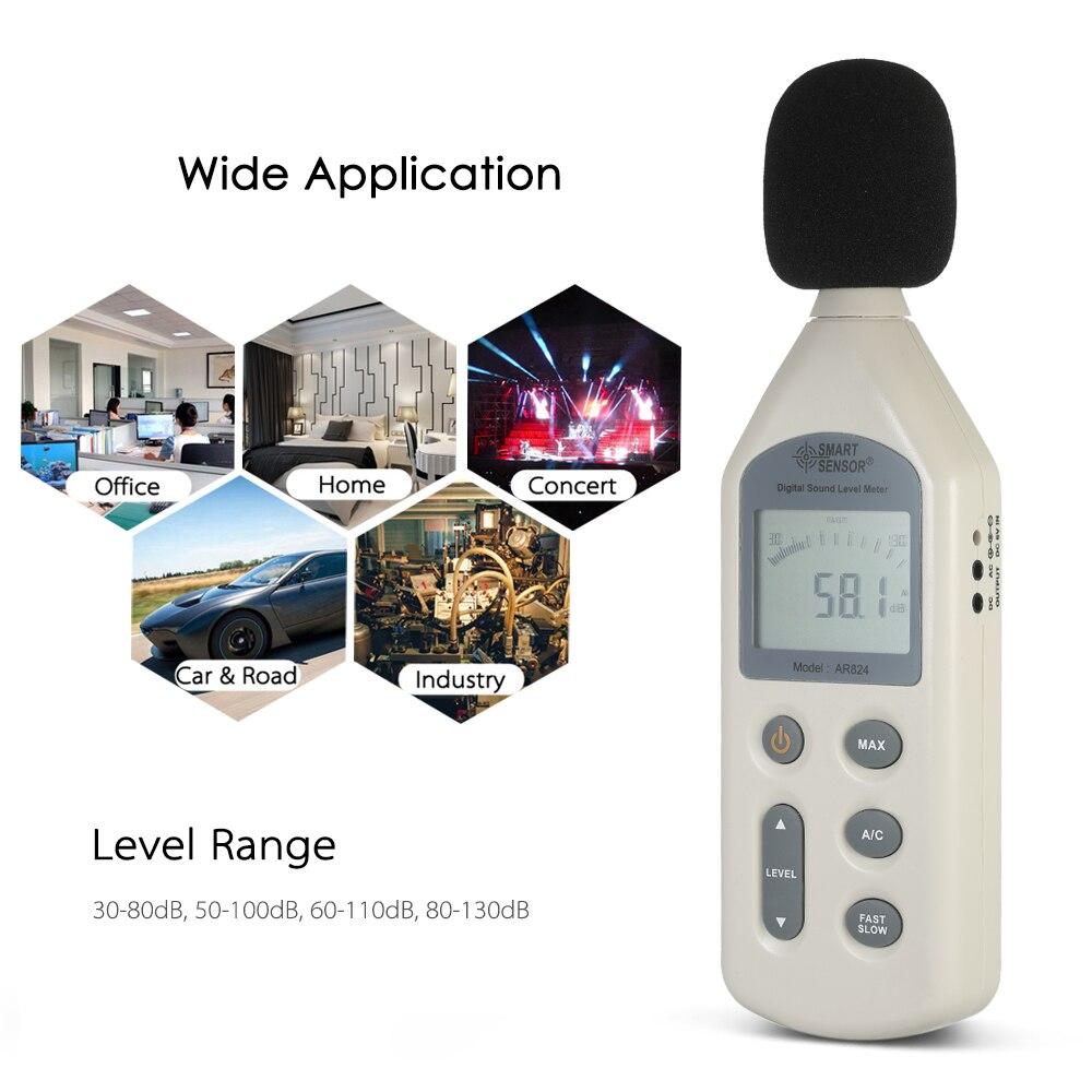 Capteur intelligent haute précision LCD numérique sonomètre Instrument de mesure du bruit décibel testeur de surveillance 30-130dBA