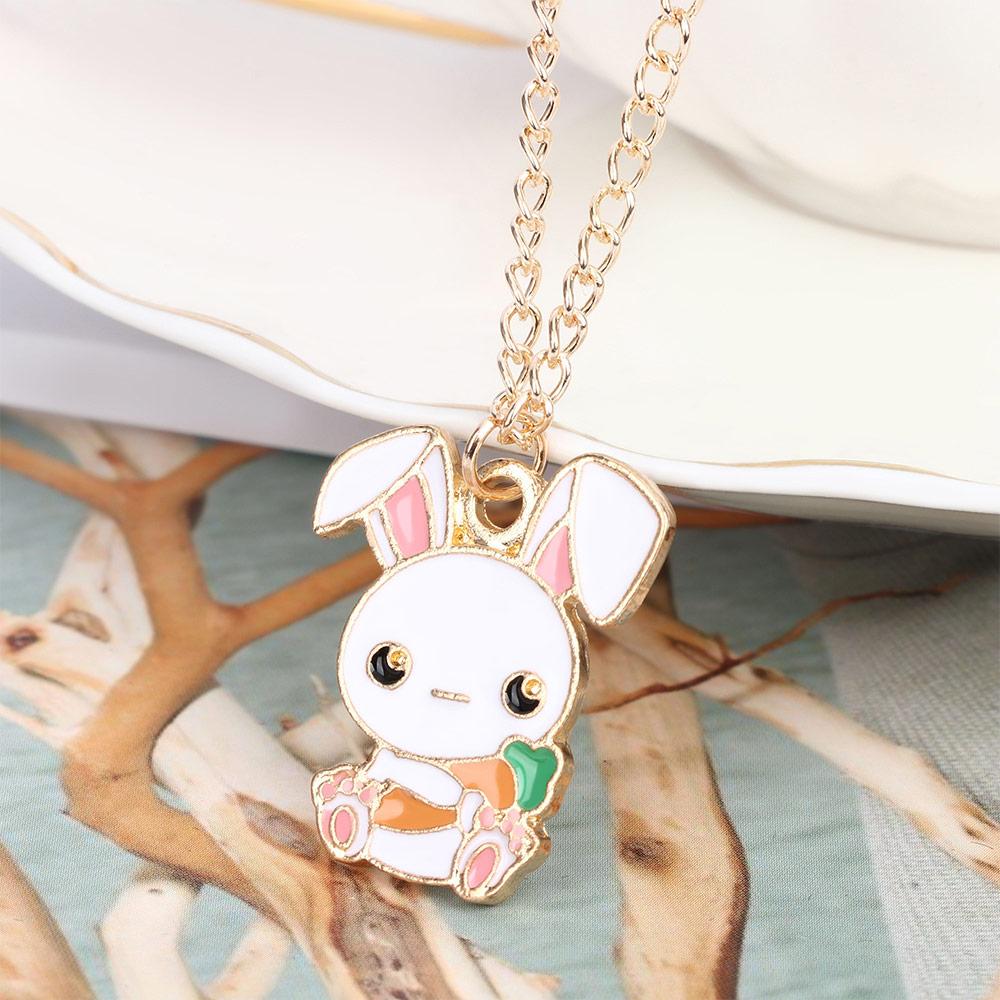 Xileg Cute Cartoon Rabbit Carrot Charm Pendant Necklace Enamel Rabbit Animal Necklaces for Women Girls