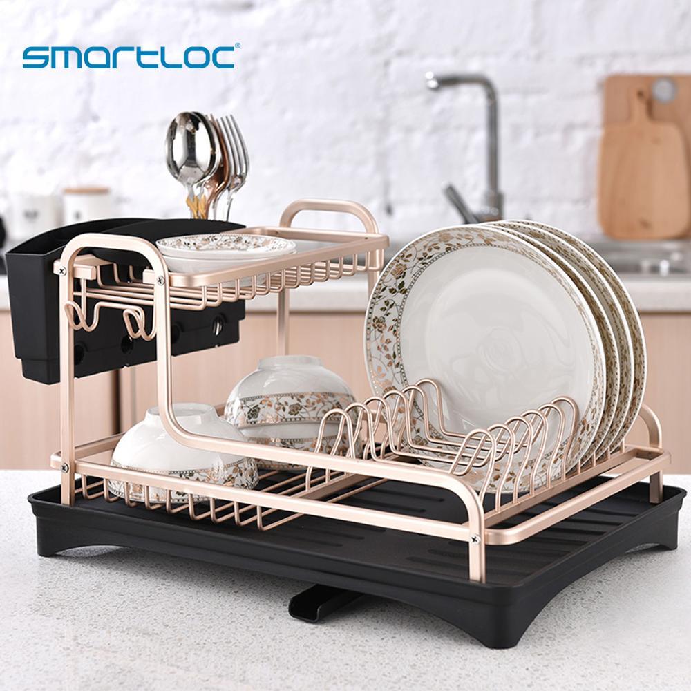 Smartloc อลูมิเนียมจานห้องครัวจัดเก็บ Drainer แห้งแผ่นชั้นวางอ่างล้างจานอุปกรณ์มีดและส้อมคอนเทนเน...