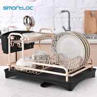 smartloc Aluminium Alloy Dish Rack Kitchen Organizer Storage Drainer Drying Plate Shelf Sink Supplies Knife and Fork Container