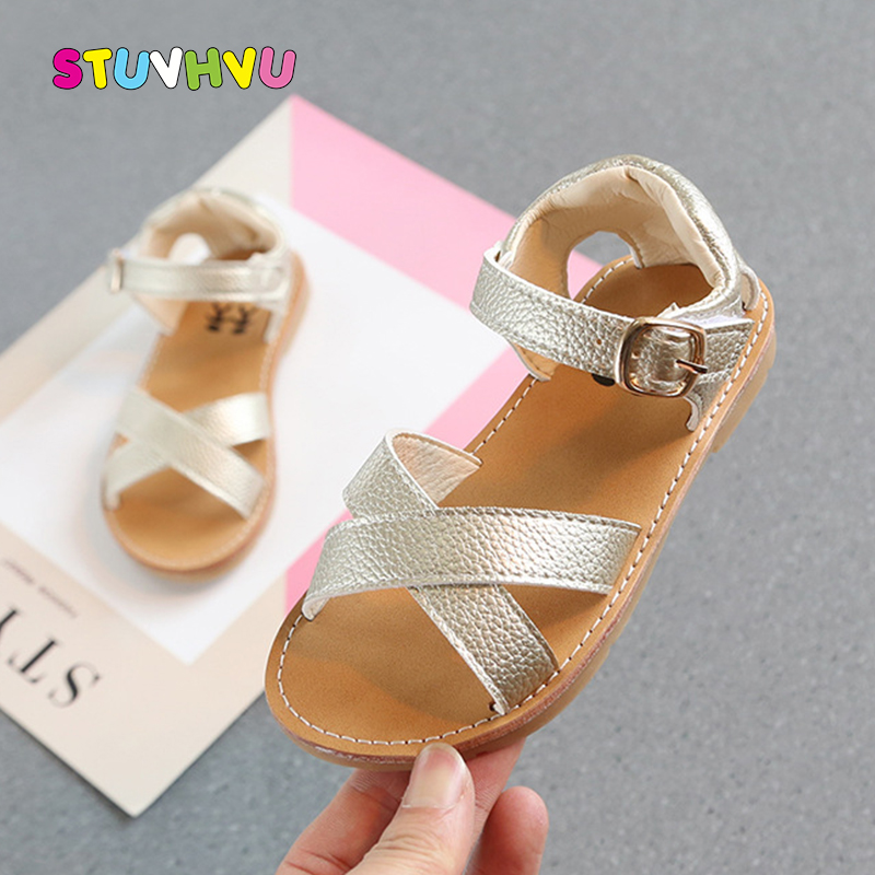 Summer New Children's Sandals Baby Toddler Boys And Girls Shoes Cross Leather Comfortable Soft Bottom Kids Sandals Beach Shoes
