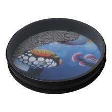 Yibuy Multicolor Wooden Remo Ocean Drum Orff Musical Tool 10 Inches