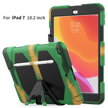Case For iPad 10.2 2019 7th Gen A2200 A2197 Funda Tablet Shockproof Hard Case Heavy Duty Silicone Rugged Stand Cover Pen Holder
