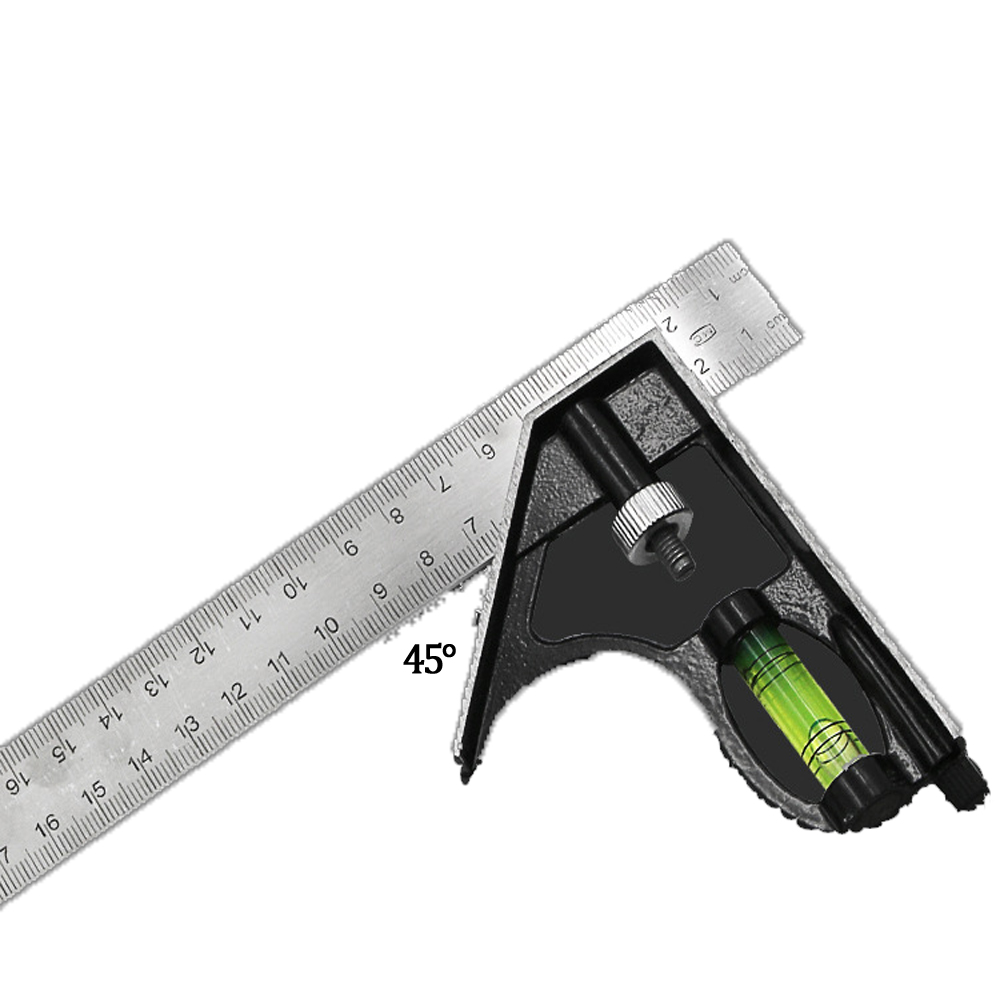 300mm Stainless Steel Multifunctional Combination Square Ruler 45/90 Degree Horizontal Angle Ruler Woodworking Tools