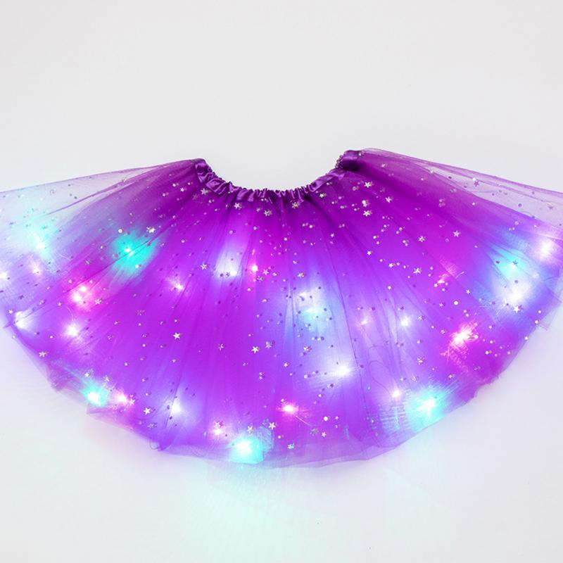 Stars Sequin LED Lighted Tutu Skirt Princess Dancing Girl Tulle Glitter Ballet Pettiskirt Fluffy Dancewear Kids Party Skirt #2