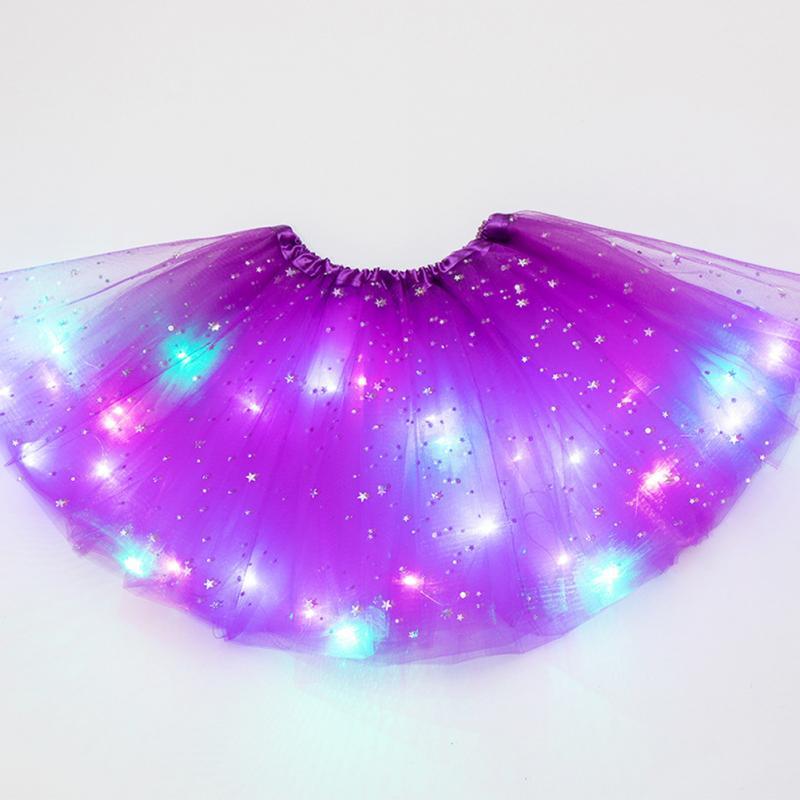 Stars Sequin LED Lighted Tutu Skirt Princess Dancing Girl Tulle Glitter Ballet Pettiskirt Fluffy Dancewear Kids Party Skirt #2