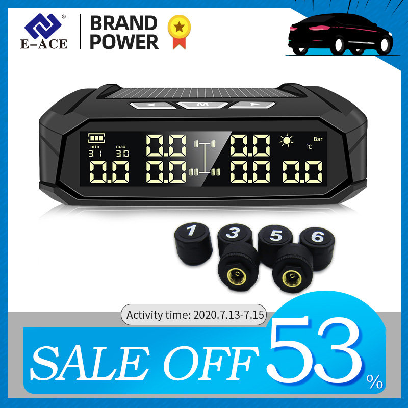 E-ACE K11 Solar TPMS Car Tire Pressure Alarm Monitor System Tyre Temp Digital Display Auto Security Alarm Systems with 6 sensors