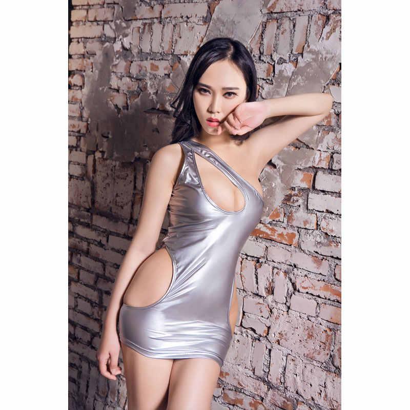 Baby Doll Sexy Lencería caliente Porno cuero vestido de látex Wetlook fetiche Clubwear Mini vestido Falda ropa interior mujeres erótico