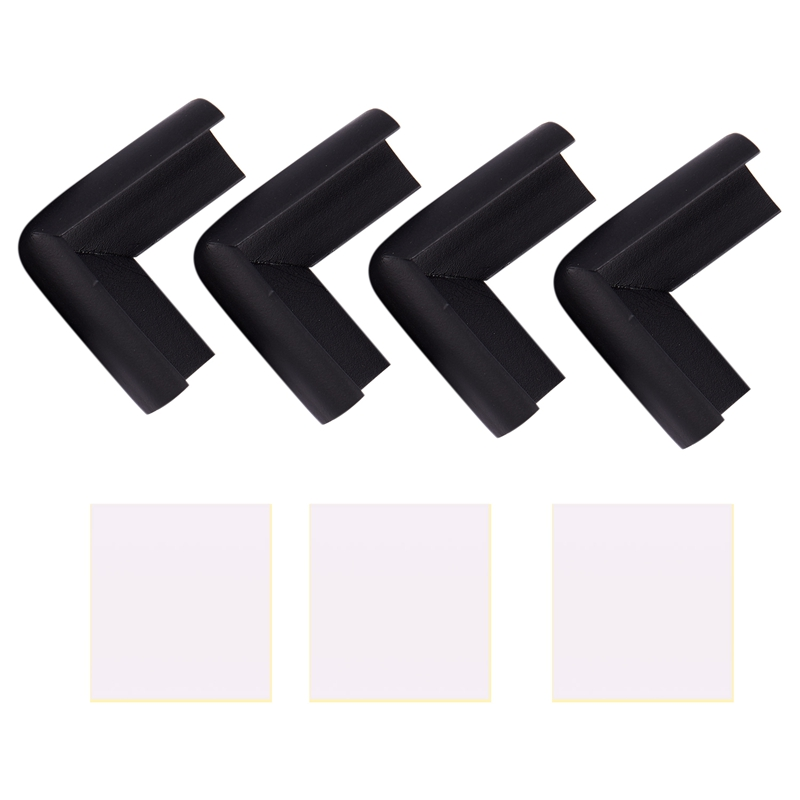 4pcs Child Baby Safety Desk Table Edge Cover Guard Corner Protector Cushion Black