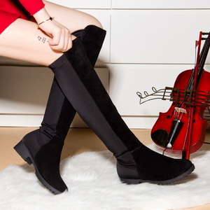 Image 2 - Women Over The Knee Boots 2020 Spring Thigh High Suede Ladies Black Long Booties Elastic 4cm Block Heels Shoes Size 34 43