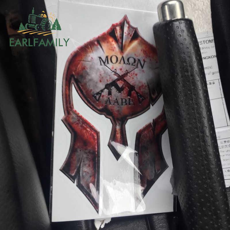 Earlfamily 12 Cm X 7.2 Cm Molon Labe Spartan Helm Stiker Gun Hak Stiker 2nd Perubahan AR15 Militer Stiker Mobil