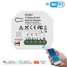 Maison intelligente 3 gangs bricolage WiFi 2 voies lumière LED gradateur Module commutateur vie intelligente/Tuya APP télécommande travail avec Alexa Google Home