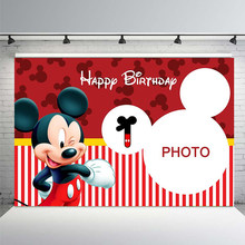 Photography Background Custom Red Theme Mickey Mouse Background Boy Birthday Party Decoration Background Photo Studio Banner(China)