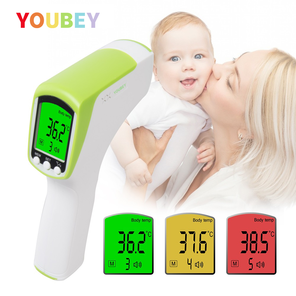 YOUBEY Forehead/Ear Baby Thermometer Non-Contact Digital Infrared Termometro Child/Adult Muti-Fuction Body Fever Measure Device