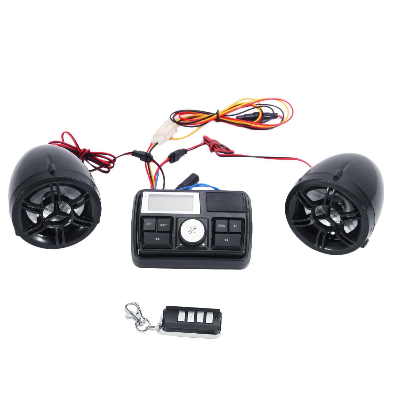 Bluetooth Waterproof 2 Speakers Practical Motorcycle Audio Set FM Radio Built In Alarm Accessories Anti Theft Outdoor LCD Screen