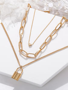 17KM Vintage Multi Layer Lock Necklaces Chain For Women NEW 2020 Gold Heart Key Pendants