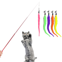 Funny Cat Toys Fishing Stick Feather Interactive Telescopic Rod Pets Toys cat's feather stick with Bells Pets Supplies