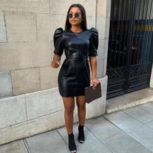 Vintage Puff Sleeve Leather Dress Women Spring Short Sleeve Black Dress