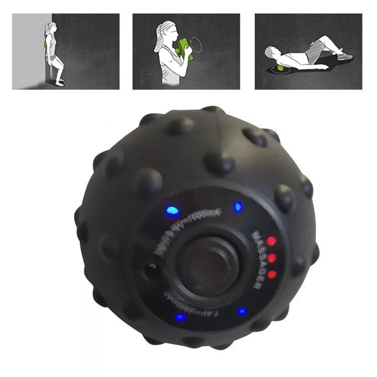 12W Electric Roller Ball 4 Speed High Intensity Vibrating Massage Ball Senoeory Muscle Vibration Massager Yoga Fitness Equipment