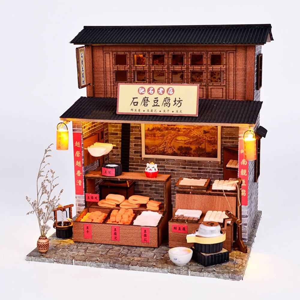 Cabine DIY Casa Loja de Tofu Chinês Cultura Clássica Chinesa Casa Quente Construção DIY Presente de Aniversário Para Crianças presente de Natal