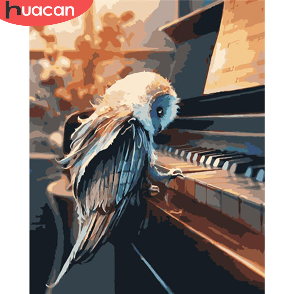 HUACAN Oil Painting By Numbers Bird Animals HandPainted Kits Drawing Canvas Pictures Piano Home Decoration DIY Gift
